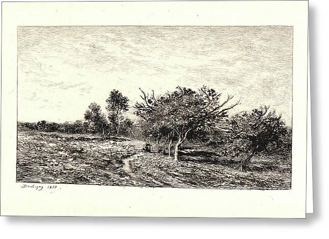 Charles François Daubigny French, 1817 - 1878. Apple Trees Greeting Card