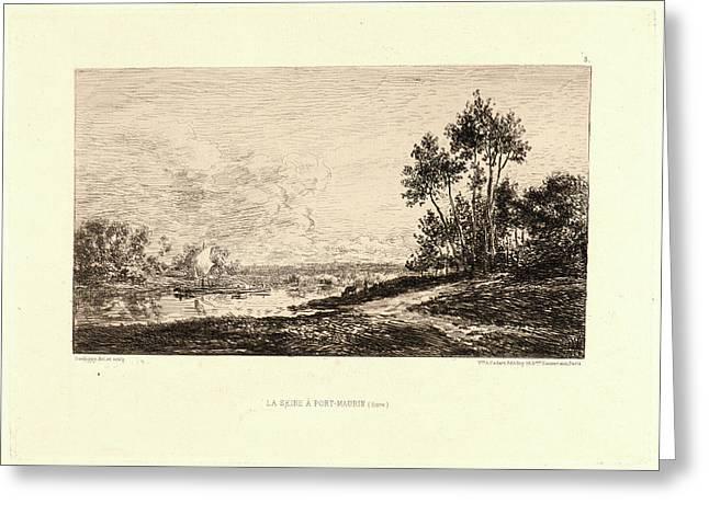 Charles François Daubigny French, 1817 - 1878. La Seine à Greeting Card by Litz Collection