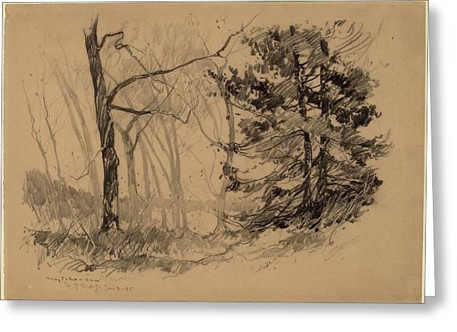Charles Herbert Woodbury, Wood Interior, American Greeting Card