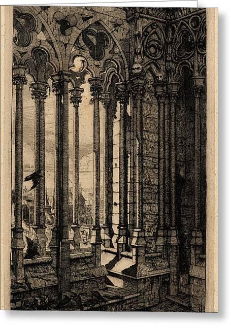 Charles Meryon French, 1821 - 1868. La Galerie De Notre Dame Greeting Card