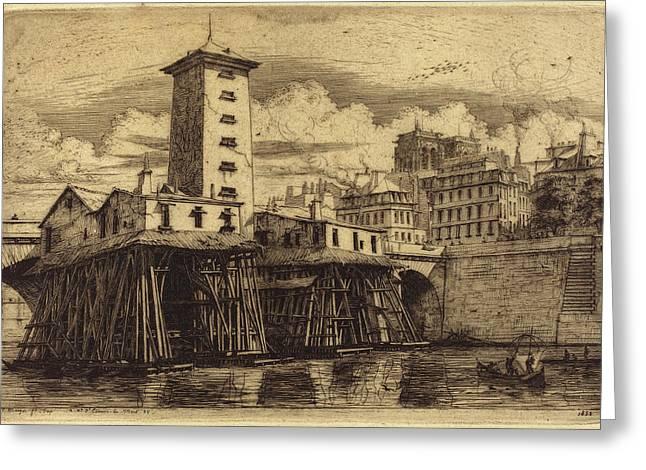 Charles Meryon French, 1821 - 1868, La Pompe Notre-dame Greeting Card