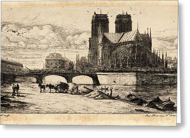 Charles Meryon French, 1821 - 1868. Labside De Notre Dame Greeting Card