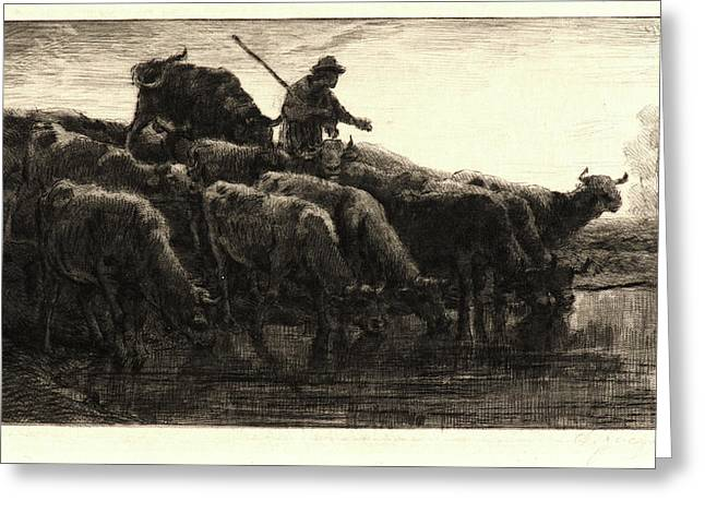 Charles Émile Jacque French, 1813 - 1894. Herd Of Cows Greeting Card