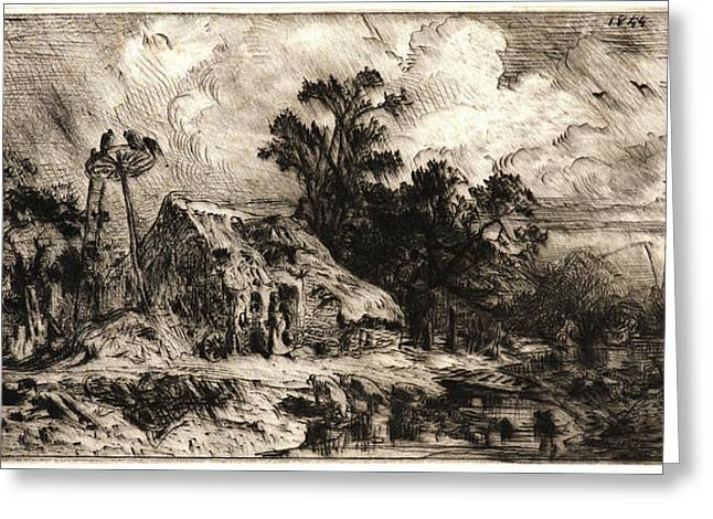 Charles Émile Jacque French, 1813 - 1894. Landscape Greeting Card by Litz Collection