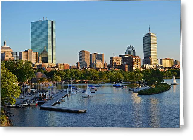 Charles River At Sunset Greeting Card