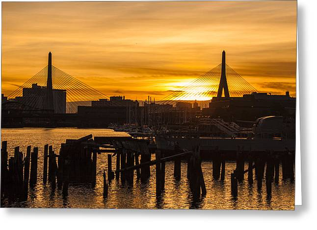 Charles River Sunset Greeting Card by T C Hoffman