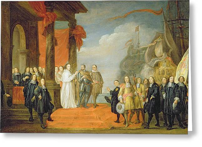 Charles V Leaving The Town Of Dort Greeting Card