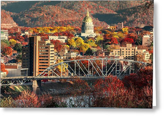 Charleston And Wv Capitol Greeting Card by Mary Almond