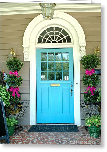 Charleston Aqua Teal French Quarter Doors - Charleston Aqua Blue Teal Garden Door Greeting Card by Kathy Fornal