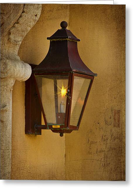 Charleston Carriage Light Greeting Card by Bill Barber