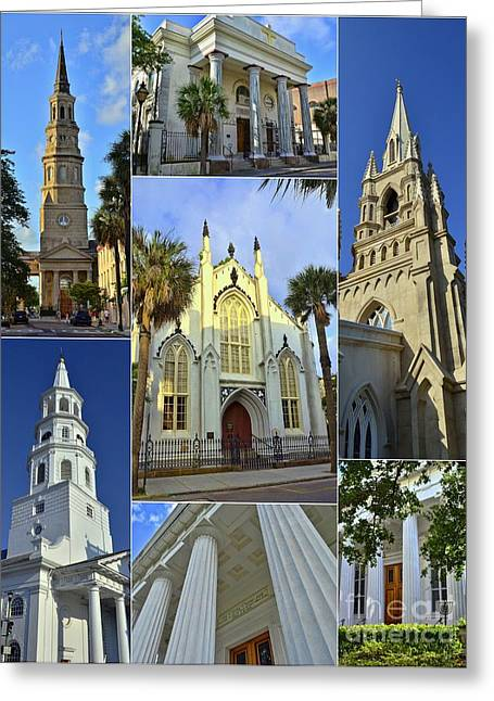 Charleston Churches Collage Greeting Card