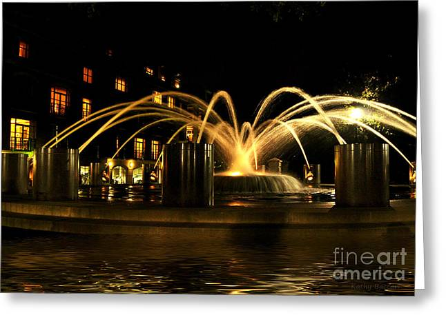Greeting Card featuring the photograph Charleston Fountain At Night by Kathy Baccari