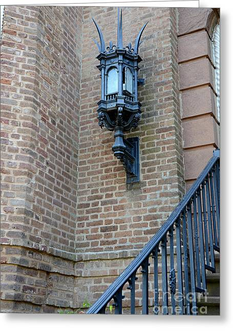 Charleston French Quarter Gothic Architecture - Charleston Gothic Ornate Black Lanterns Lamps  Greeting Card by Kathy Fornal