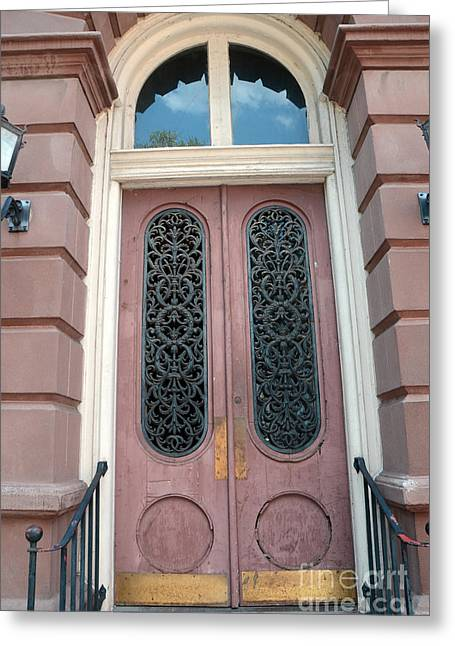 Charleston French Quarter Pink Ornate Door Architecture - Charleston French Quarter Ornate Door Greeting Card by Kathy Fornal