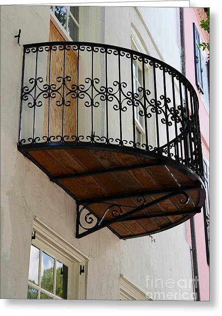 Charleston French Quarter Rainbow Row French Lace Iron Balconies Greeting Card by Kathy Fornal