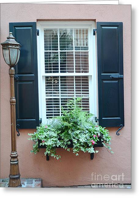 Charleston French Quarter Window Box And Street Lamp - Romantic Charleston Window Flower Boxes Greeting Card by Kathy Fornal