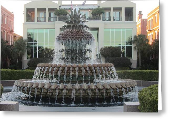 Charleston Pineapple 9 Greeting Card by Cathy Lindsey