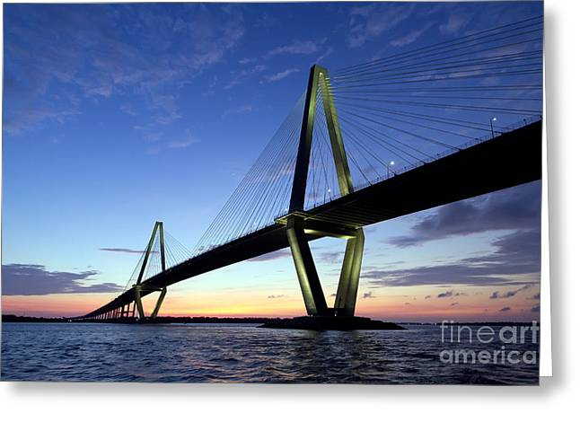 Charleston Ravenel Bridge Sunset Greeting Card by Dustin K Ryan