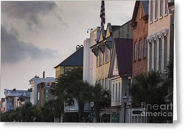 Charleston Sc King Street Sunset Greeting Card