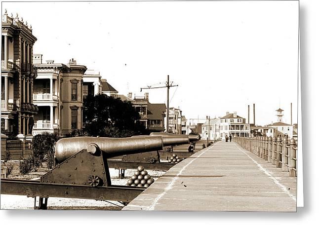 Charleston, S.c, Walkways, Cannons, Waterfronts Greeting Card