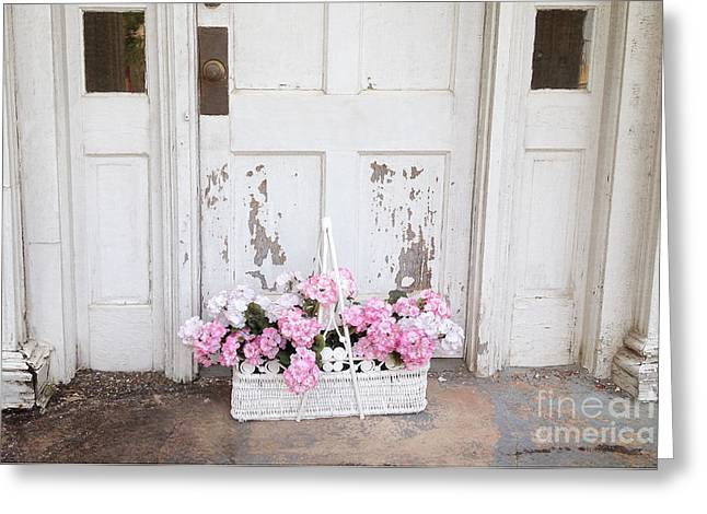 Charleston Shabby Chic Vintage Cottage Old Door With Basket Of Flowers Greeting Card by Kathy Fornal
