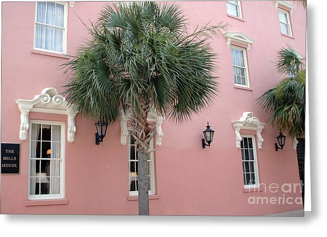 Charleston South Carolina Pink Architecture Historical District - The Mills House Greeting Card