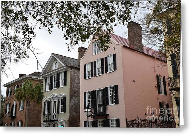 Charleston South Carolina Rainbow Row Historic Homes District Greeting Card by Kathy Fornal