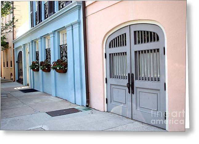 Charleston South Carolina - Rainbow Row - Historical District Architecture Greeting Card by Kathy Fornal