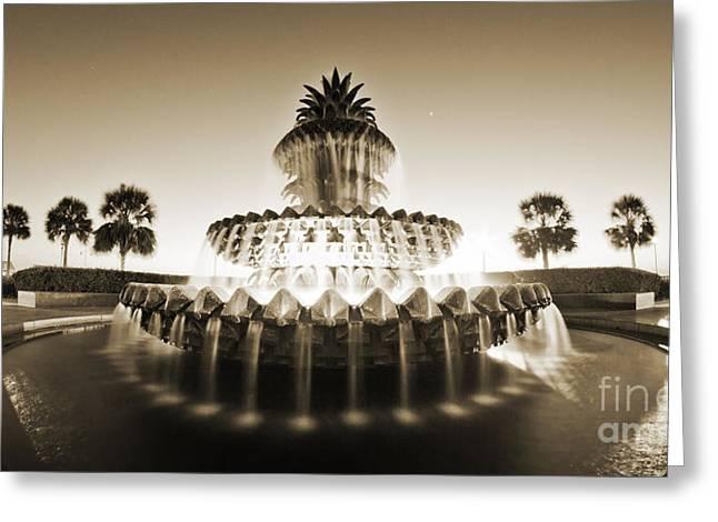 Charleston Waterfront Park Pineapple Fountain Greeting Card by Dustin K Ryan