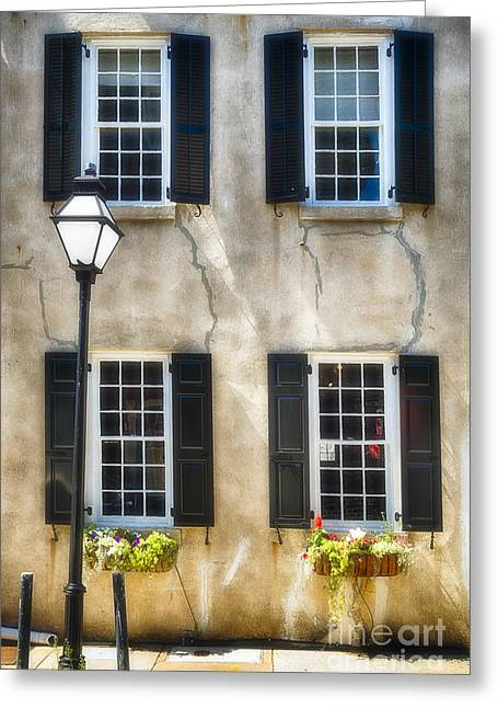 Charleston Windows And Lamp Post  Greeting Card by George Oze