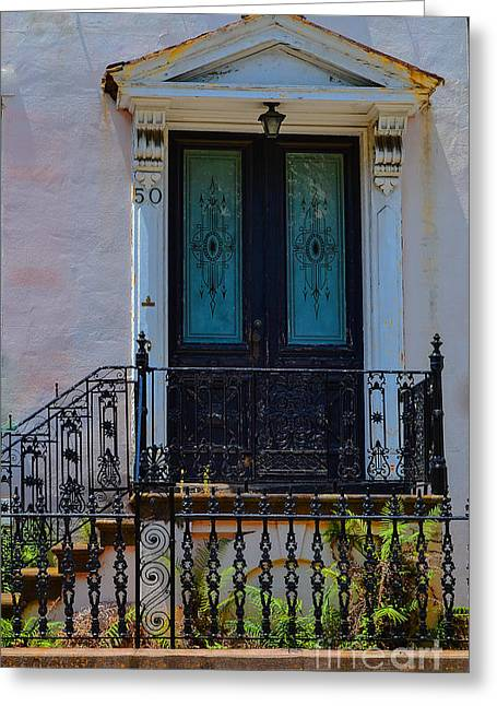 Charleston Wood Door Etched Glass Greeting Card