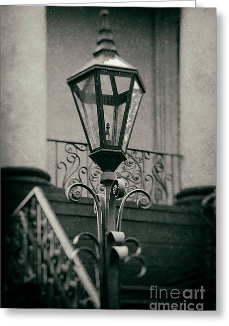 Charleston Wrought Iron Lamp Greeting Card by Jerry Fornarotto