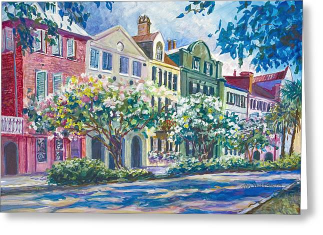 Charleston's Rainbow Row Greeting Card by Alice Grimsley