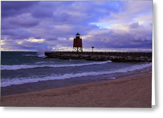 Charlevoix Lighthouse Sunset 1 Greeting Card