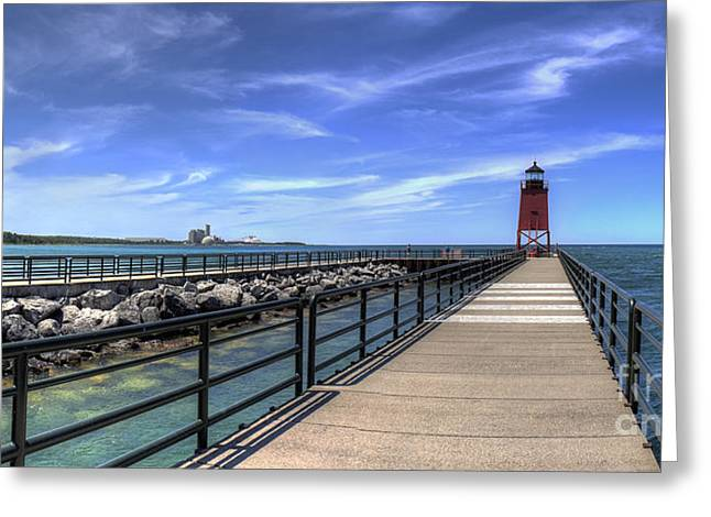 Charlevoix Pier And Lighthouse Greeting Card