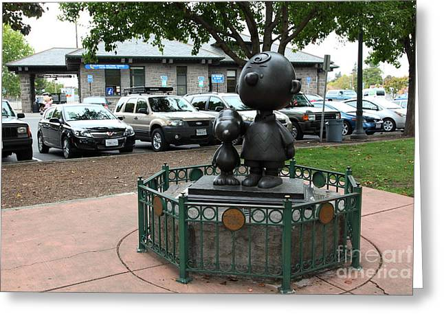 Charlie Brown And Snoopy At Historic Railroad Square Santa Rosa California 5d25825 Greeting Card