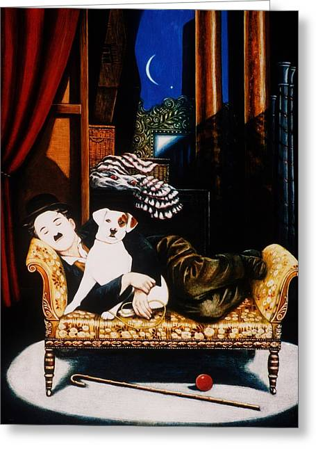 Charlie Chaplin And Scraps, 1992 Oils And Tempera On Panel Greeting Card by Frances Broomfield
