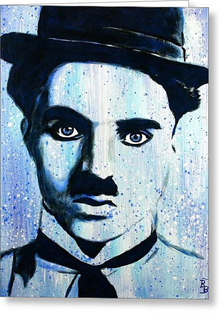 Greeting Card featuring the painting Charlie Chaplin Little Tramp Portrait by Bob Baker