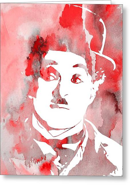Charlie Chaplin Red Greeting Card by Dan Sproul