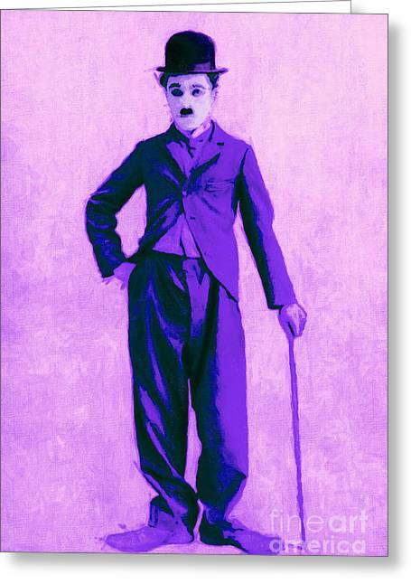 Charlie Chaplin The Tramp 20130216m40 Greeting Card by Wingsdomain Art and Photography