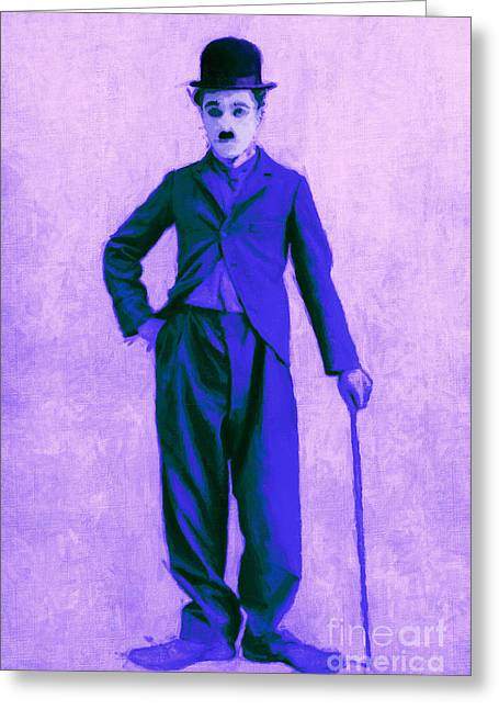 Charlie Chaplin The Tramp 20130216m60 Greeting Card by Wingsdomain Art and Photography
