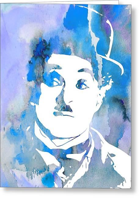 Charlie Chaplin Watercolor Blue Greeting Card