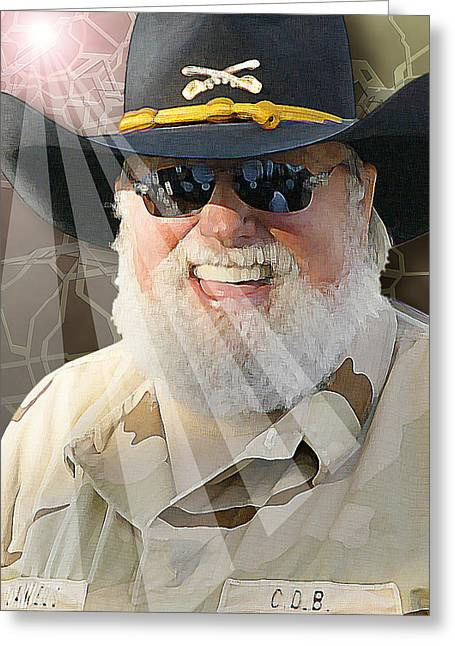 Greeting Card featuring the digital art Charlie Daniels by Don Olea