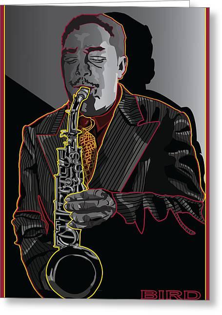 Charlie Parker Jazz  Saxophone Legend Greeting Card by Larry Butterworth