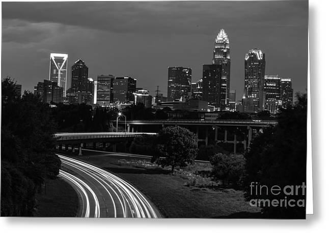 Charlotte Black And White Skyline Greeting Card by Robert Loe