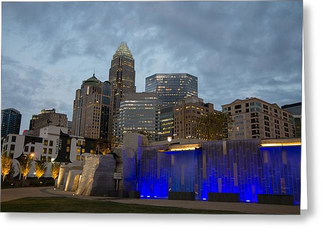 Greeting Card featuring the photograph Charlotte City Lights by Serge Skiba