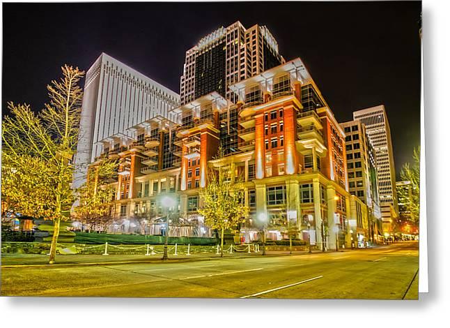 Charlotte City Skyline Night Scene Greeting Card by Alex Grichenko