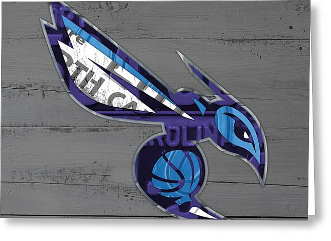 Charlotte Hornets Basketball Team Logo Vintage Recycled North Carolina License Plate Art Greeting Card by Design Turnpike