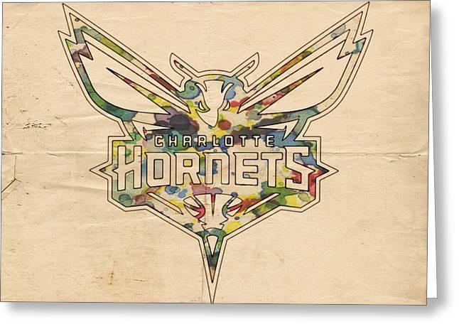 Charlotte Hornets Logo Art Greeting Card by Florian Rodarte
