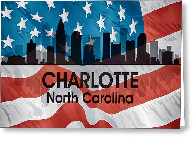 Charlotte Nc American Flag Squared Greeting Card by Angelina Vick